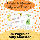26 Printable Monster Alphabet Tracing Worksheets