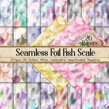 26 Seamless Foil Mermaid Dragon Fish Scale Digital Papers