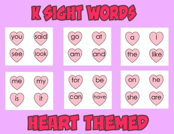 26 Sight Words (K) - Heart Themed