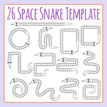 26 Space Snakes - Great for Games and Alphabets Clip Art S