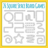 26 Square Space Board Games Clip Art Set for Commercial Use