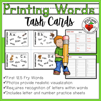 Prints Uppercase and lowercase letters – 26 Task Cards