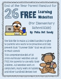 26 Websites to Prevent the Summer Slide Parent Handout - FREEBIE