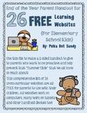 26 Websites to Prevent the Summer Slide Parent Handout - FREEBIE