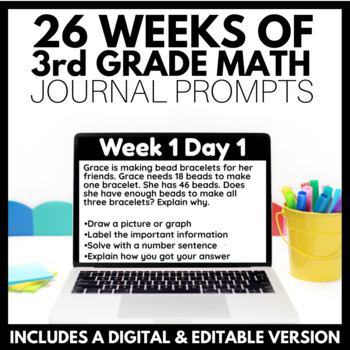 26 Weeks of 3rd Grade Daily Math Journal Prompts