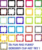 26  colorful, polka dot, and stars borders clip art!