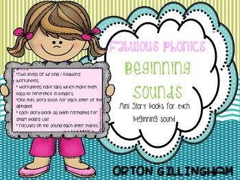 reading 26 mini books for each beginning sound + worksheets. {{Orton Gillingham}