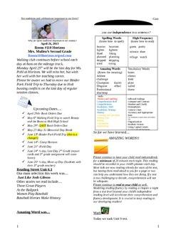 2.6.1 Just Like Josh Gibson Street 2nd Grade Newsletter Unit 6 Week 1