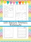 263 Numbers Worksheets Download. Preschool-Kindergarten Math.  ZIP file.
