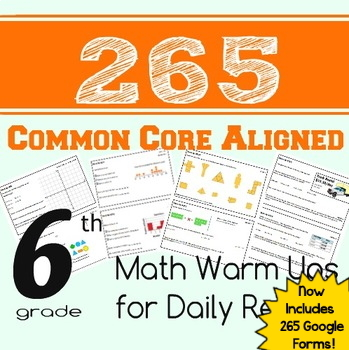 265 Math Warm Ups or Daily Review - Common Core Aligned