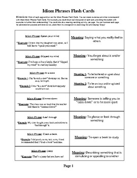 268 Idiom Phrases Definition Flash Cards with Example Sentences