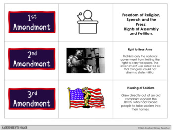 Amendments Matching Game