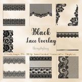 27 Black Lace Border Frame Overlay Transparent Images PNG
