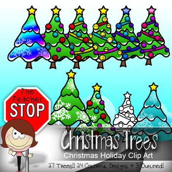 27 Christmas Trees - Holiday Clipart {The Teacher Stop}