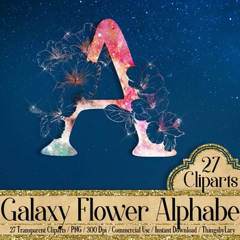 27 Clip Arts Galaxy Hibiscus Flower Alphabet Letters