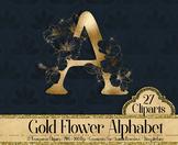 27 Clip Arts Gold Foil Hibiscus Flower Alphabet Letters