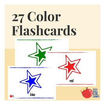 27 Color Flashcards with range of tones and both UK and US spelling