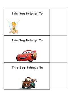 27 Disney Bag Name Tag  Labels for your classroom
