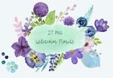 27 Hand-Painted Watercolor Purple Floral Clip Art