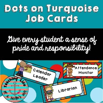 Dots on Turquoise Classroom Job Cards
