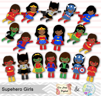 Superhero african american. Little girl clip
