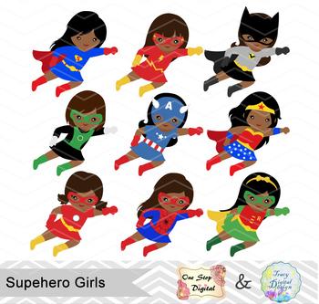 27 Little Girl Superhero Clip Art, African American Superhero Girls Clipart 0206