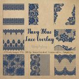 27 Navy Blue Lace Border Frame Overlay Transparent Images