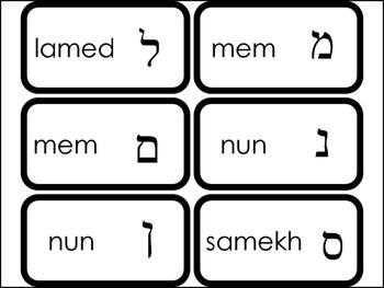 27 Printable Hebrew Alphabet Flashcards. Letter Symbols and Names. Foreign Langu