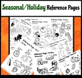 27 Seasonal and Holiday Reference Pages! Pictures and Spelling!