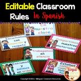 Las Reglas del Salón-Editable Classroom Rules in Spanish