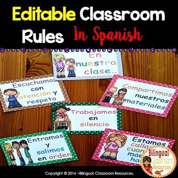 27 Spanish Classroom Rules {Editable}