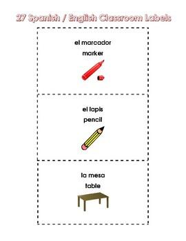 27 Spanish English Classroom Labels