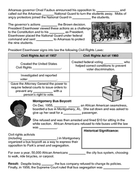 27 - The Civil Rights Movement - Scaffold/Guided Notes (Blank and Filled-In)