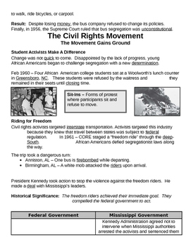 27 - The Civil Rights Movement - Scaffold/Guided Notes (Filled-In Only)