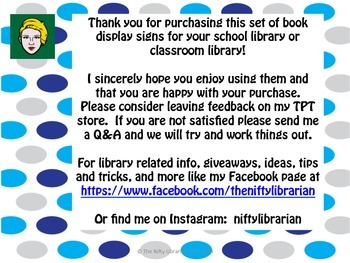 27 Unique Library Book Display Signs:  Blue Polka Dots, Seasons, Holidays