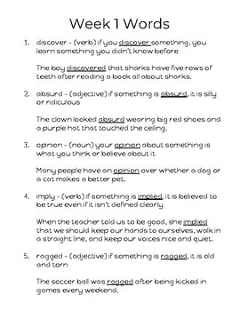 27 Weeks of Vocabulary for Grades 3-5