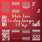 27 White Lace Border Frame Overlay Images A4 Size