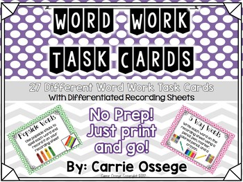 27 Word Work Task Cards