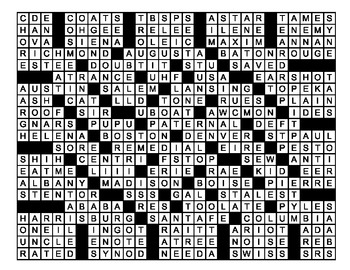 27 X 21 State Capitals Crossword Mega-Puzzle
