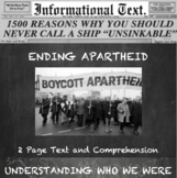 Ending Apartheid:  Informational Text Worksheet