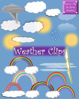 27 clips Weather Clipart: Sun, Clouds, Rainbows, Funnel Cl