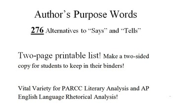 276 Author's Purpose Words