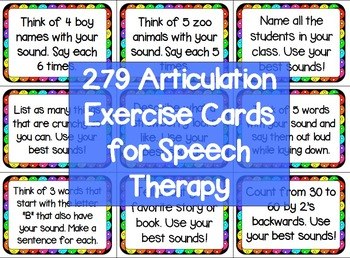 279 Articulation Exercise Cards for Speech Therapy -Warm-Up