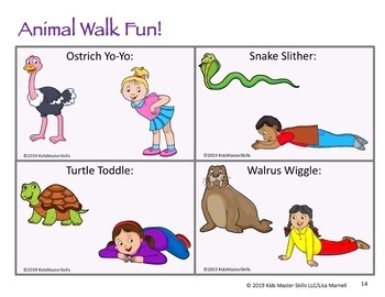 32 Animal Walk Cards for Sensory Regulation and Brain Breaks (tips for math/ELA)