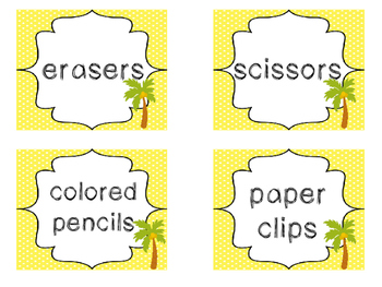 28 Beach themed Printable Basket Labels Classroom Organizer Set. Class Acce