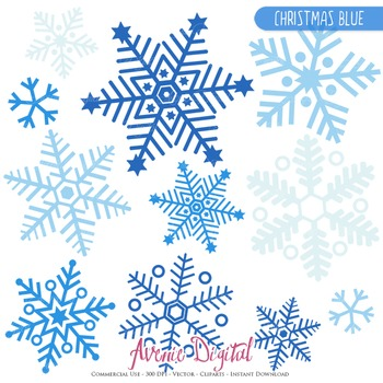 28 Christmas Blue Snowflakes - vector clipart - snow images