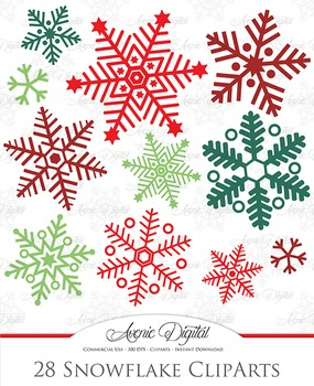 28 Christmas Snowflakes - vector clipart