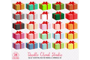 28 Colorful Present Clipart Birthday Gift Box Rainbow Christmas