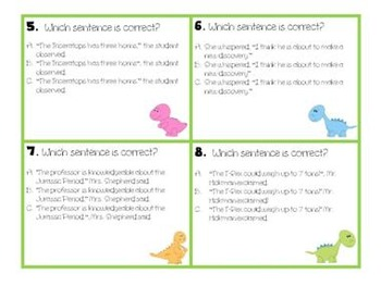 28 Dinosaur Dialogue (Quotations) Task Cards- Scoot Game-L.4.2.B-