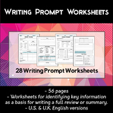 28 English Writing Prompt Worksheets